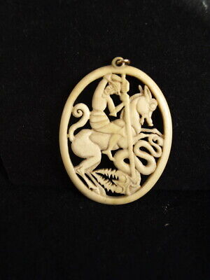 Large Antique Oriental Carved  George and Dragon Medallion