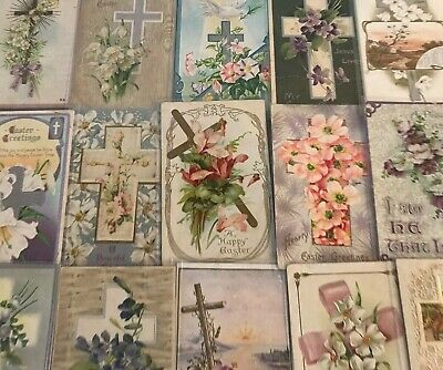"LOT of 15 BEAUTIFUL Antique~"" EASTER CROSSES"" with Flowers CROSS POSTCARDS-p670"