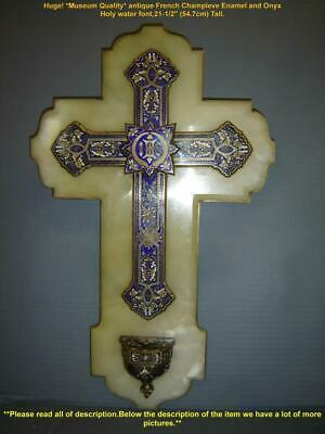 Antique French HUGE Champleve Enamel And Onyx Holy Water Font Plaque Crucifix