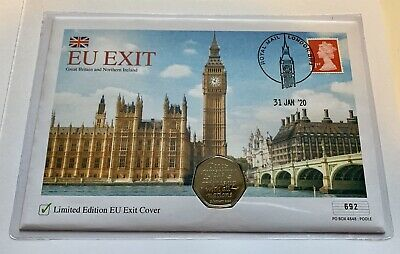 Brexit UK 50p coin & stamp Set EU Exit limited edition dated cover EU Withdrawal