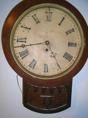 Antique,Oak Cased Fusee Wall Clock-Drop Dial-Railway?- For Restoration