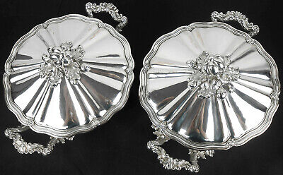 VEYRAT PARIS - PAIR OF TUREENS WITH 921g STERLING LINERS ANTIQUE SILVER PLATED