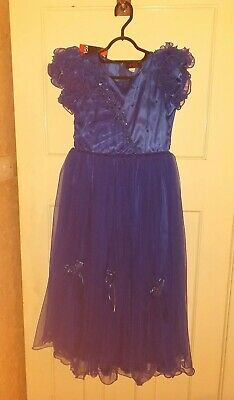 BNWT Girls Dark Blue Party Special Occasion Dress Age 13 Years New