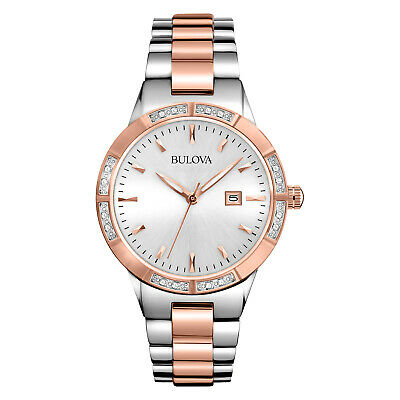 Bulova Women's Quartz Diamond Accent Date Calendar Two-Tone 32mm Watch 98R169