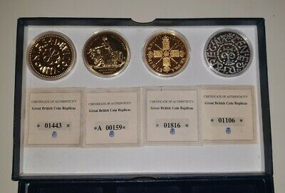 Great British Coin Collection x 4 Coins Complete With COA's & Display Cases.