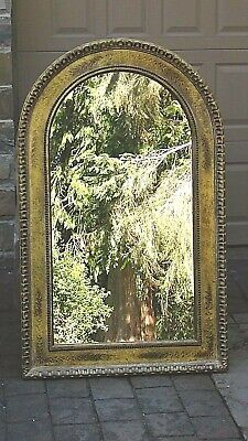 """ANTIQUE ITALIAN LARGE WOOD OVAL TOP GOLT ORNATE FRAME MIRROR 46"""" x29"""""""