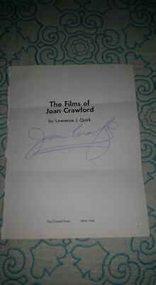 The Films Of Joan Crawford HAND SIGNED 1968 Citadel Press