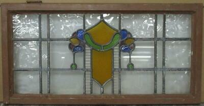 "OLD ENGLISH LEADED STAINED GLASS WINDOW TRANSOM Stunning Abstract 34"" x 17.5"""