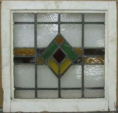 "OLD ENGLISH LEADED STAINED GLASS WINDOW Gorgeous Geometric Design 20.75"" x 20"""