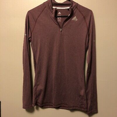 Adidas Womens Running 1/4 Zip Climate Size M