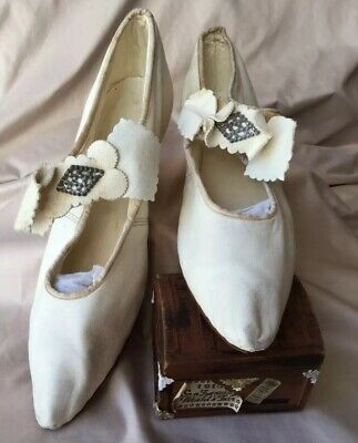 1900's Antique French Edwardian Wedding Shoes-Slippers Kid Skin Woman's White