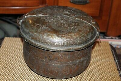 Antique Middle Eastern Arabic Chinese Lidded Copper Bowl Cooking Vessel Engravin