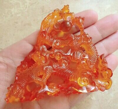 Exquisite Chinese Dragon Hand Carved In Baltic Amber 176.35 carats