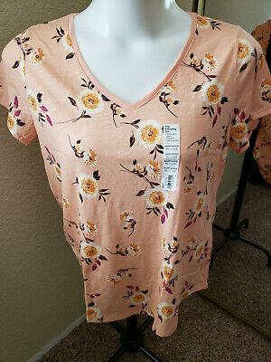 SONOMA Goods For Life NWT Size XL Pink/Peach with Flowers Top
