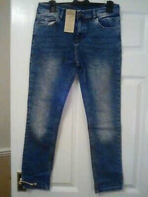 M&S Girls Skinny Denim Adjust Waist Blue Denim Jeans Age 11-12 Long Years Bnwt