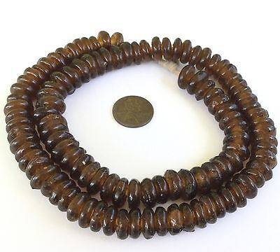 Dark Amber Ghana Translucent Annular African Disk Recycled glass Trade Beads