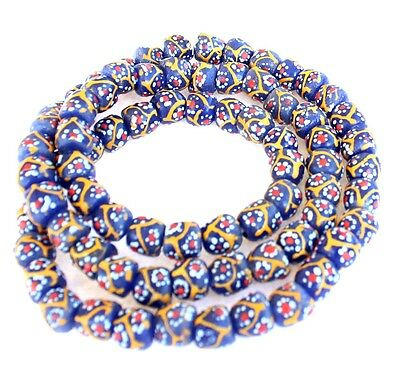Ghana African Matched Fancy daisy design Recycled glass trade beads