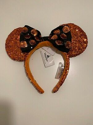 Disney Parks Minnie Mouse Orange Ears Black Bow Halloween Hat Headband NWT