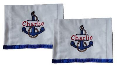 New Blue  Embroiderered Personalized Nautical Anchor Set of 2 Burp Cloths
