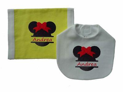 New Yellow White Personalized Embroidered Mouse Ears Bib and Burp Cloth Set