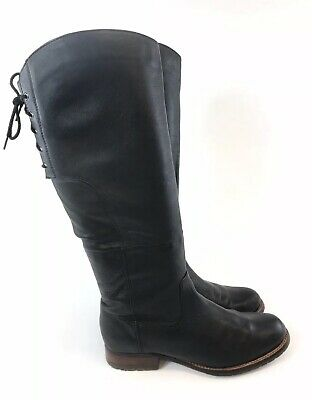 Lotus Size 38 UK5 Black Soft Leather Knee High Zip Up Lined Riding Booties Boots