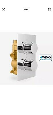 2 Dial 1 Way Chrome Concealed Thermostatic Shower Mixer Valve