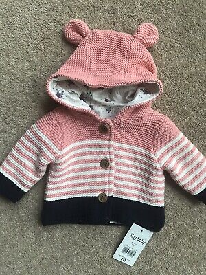 NEW lined Cotton Cardigan With Ears Mothercare Tiny Baby Up To 5lb