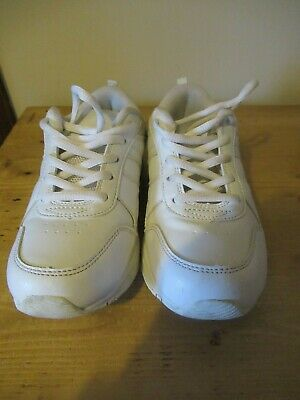 Marks & Spencer Girls White Faux Leather Trainers Size UK 2 [EU 34.5]