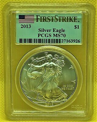 2013 AMERICAN SILVER EAGLE PCGS MS70 *FIRST STRIKE* American Flag Label *SPOTS*