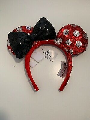 Polka Dot Minnie Mouse Ears Bow RED Black Sequins Disney Parks Headband NWT
