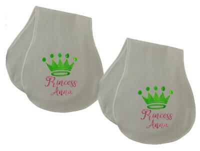New Handmade Personalized Embroidered Green Pink Princess Set Of 2 Burp Cloths