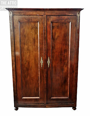 Stunning Antique Continental French Flame Mahogany Armoire Wardrobe