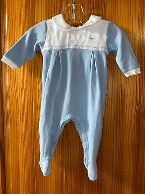 Armani Baby Boys Baby Grow Age 3 Months Romper Blue & White