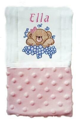 New Handmade Personalized Cloth Diaper Pink Baby Girl Bubbles Bear Burp Cloth