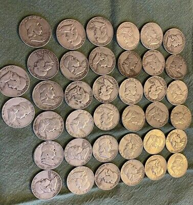 Lot of 38 Franklin silver half dollar coins 90% silver circulated. Mixed Dates