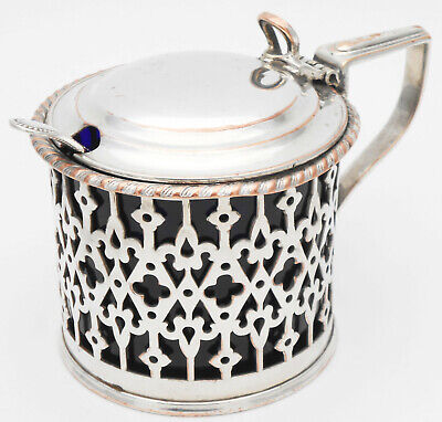 Old Sheffield Plate Style Larger Mustard Pot - Silver Plated - Antique
