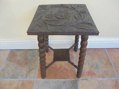 Vintage early 20th ornately carved top stool, side lamp table, bobbin turned