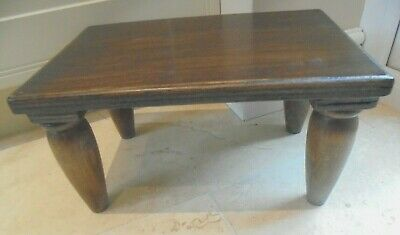 Vintage French rustic wooden foot stool, low bench, rectangular, chunky, 4 legs