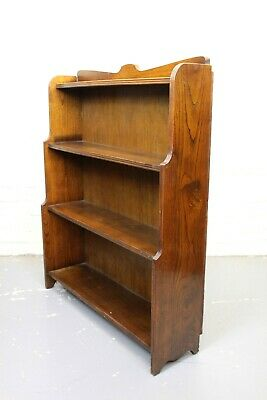 Antique 1930's Art Deco Oak Waterfall Open Bookcase