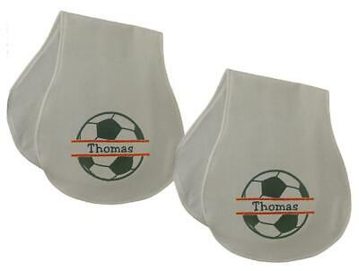 New Handmade Personalized Embroidered 100% Cotton Soccer Set Of 2 Burp Cloths