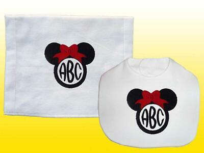 New White Personalized Handmade Embroidered Mouse Ears Bib and Burp Cloth Set