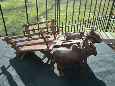 Primitive antique Folk Art Hand Carved Wood Oxen Pulling Wagon Wooden Ox Cart