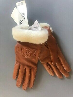 Nwt $110 Ugg Gloves W Classic Leather Logo Chestnut Size S Real Fur Cuff