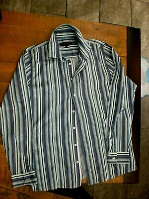 Fab Blue Multi Stripe Shirt By Ted Baker, Age 16 Years Worn Once,Cotton