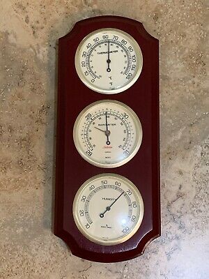 VTG Sunbeam Wooden Weather Station Thermometer Barometer Humidity Good Condition