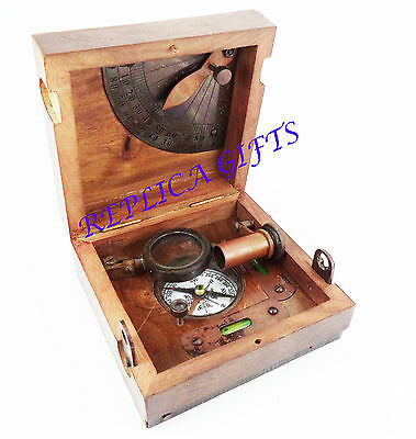Antique Maritime Scientific Brass Nautical Compass With Wood Safety box