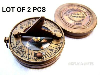 Vintage Maritime Antique Brass Sundial Style Donald Compass Nautical Decor 2 Pcs