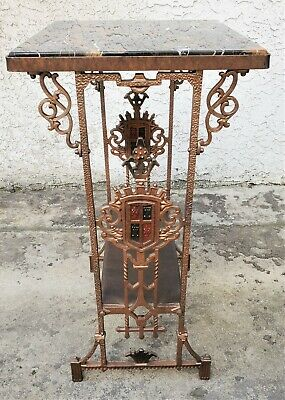 Vtg American Cast Iron SPANISH REVIVAL Marble Top LAMP SIDE END TABLE