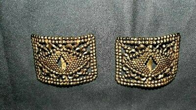 Antique Cut Metal Beaded Shoe Buckles Clips Made in France