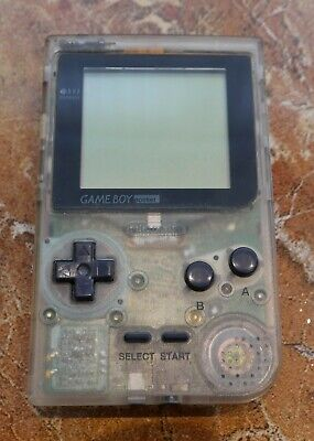 Nintendo Game Boy Pocket Clear Handheld System - No Battery Cover